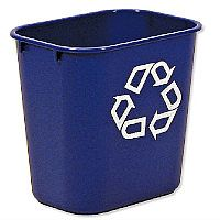 Rubbermaid Recycling Wastebasket Polyethylene Rectangular 26.6L Blue Without Lid