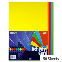 Premier Rainbow Assorted Colours Card Paper A3 160g Pack of 50 Sheets