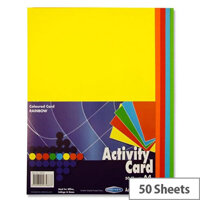 Premier Assorted Colours Activity Cards A4 160gsm Pack of 50 Sheets