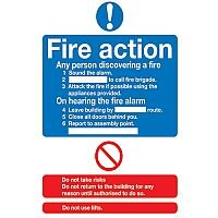 Safety Sign Fire Action Standard A5 PVC