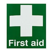 First Aid Safety Sign 150x110mm Self-Adhesive
