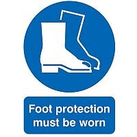 Safety Sign Foot Protection Must be Worn A4 PVC