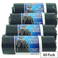 Safewrap Black Refuse Sack 92L Pack of 4 Rolls With 20 Sacks per Roll, Providing You With 80 Sacks In Total. Ideal For Use In Catering Environments, Schools, Colleges, Offices, Homes & More.