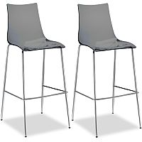 Zebra Antishock Bar Stool With H800mm Chrome Base Translucent Smoked Grey Set of 2