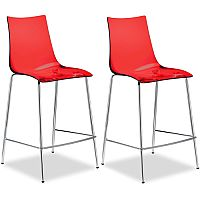 Zebra Antishock Bar Stool With H650mm Chrome Base Translucent Red Set of 2