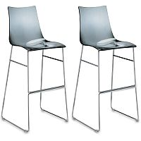 Zebra Antishock Bar Stool With H800mm Chrome Sled Base Translucent Smoked Grey Set of 2