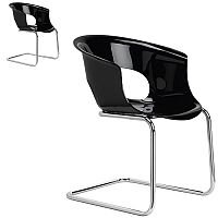 Miss B Antishock Chair With Chrome Cantilever Base Glossy Black Set of 2