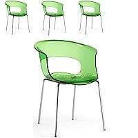 Miss B Antishock Canteen & Breakout Chrome Leg Chair Translucent Lime Green Set of 4