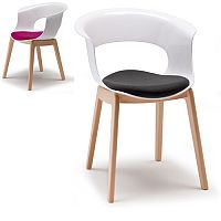 Natural Miss B Antishock Canteen & Breakout Wooden Leg Chair With Cushion Glossy White Set of 2