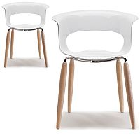 Natural Miss B Antishock Canteen & Breakout Chair Glossy White With Steel & Natural Oak Wood Legs Set of 2