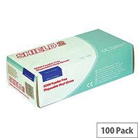 Shield Powder-Free Vinyl Gloves Clear Medium Pack of 100 GD10