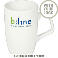 Corporate Branded Earthenware White Mug - Customise with your brand, logo or promo text