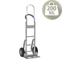 Stairclimbing Aluminium Hand Truck Tall Frame Low-Friction Skids with Pneumatic Tyres 200kg Capacity 317675