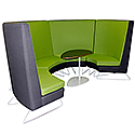 Modular Meeting Pod STELLA 4 Sections Green & Grey