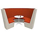 Modular Meeting Pod STELLA 3 Sections Orange & Grey