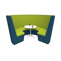 Modular Meeting Pod STELLA 3 Sections Blue & Green