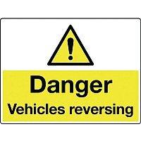Rigid PVC Plastic Vehicle Hazards Sign- Danger Vehicles Reversing