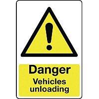 Rigid PVC Plastic Vehicle Hazards Sign Danger Vehicles Unloading