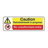 Sign Caution Refurbishment 600X200 Rigid Plastic