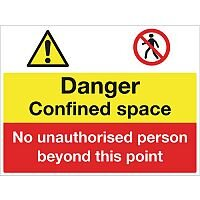 Sign Danger Confined Space 600X450 Rigid Plastic
