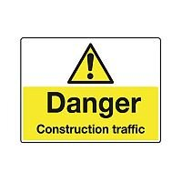 Sign Danger Construction Traffic 600X450 Rigid Plastic