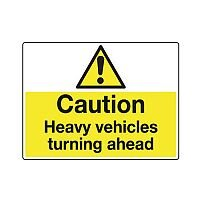 Sign Caution Heavy Vehicles 600X450 Rigid Plastic