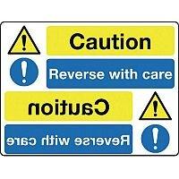 Rigid PVC Plastic Mirror Sign Header Caution Reverse With Care