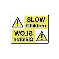 Rigid PVC Plastic Mirror Sign Header Slow Children