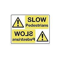 Rigid PVC Plastic Mirror Sign Header Slow Pedestrians
