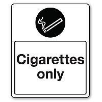 Rigid PVC Plastic Smoking Area Sign Cigarettes Only