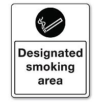Rigid PVC Plastic Smoking Area Sign Designated Smoking Area
