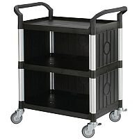 Three Tier Plastic Utility Tray Trolley With Open Sides And Ends With 3 Standard Black Shelf Back & Side Panels