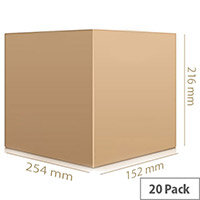 Single Wall Carton 152x254x216mm Pack of 20