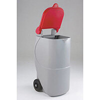 Mobile Recycling Bins For Cans Lid Red 90L