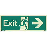 Photoluminescent Exit Sign Exit Arrow Right HxW 150X400mm