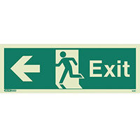 Photoluminescent Exit Sign Exit Arrow Left HxW 200X450mm