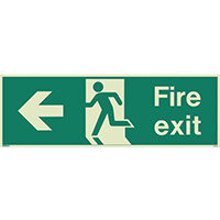 Photoluminescent Fire Exit Sign Fire Exit Arrow Left HxW 150X400mm