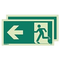 Photoluminescent Double Sided Safety Way Guidance Sign Arrow Left HxW 150X300mm