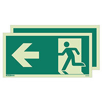 Photoluminescent Double Sided Safety Way Guidance Sign Arrow Left HxW 250X500mm