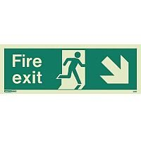 Photoluminescent Fire Exit Sign Fire Exit Arrow Down Right HxW 150X400mm