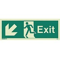 Photoluminescent Exit Sign Exit Arrow Down Left HxW 200X450mm