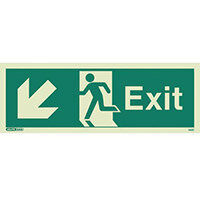 Photoluminescent Exit Sign Exit Arrow Down Left HxW 150X400mm