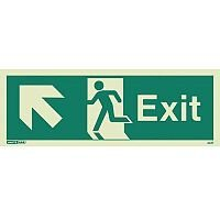 Photoluminescent Exit Sign Exit Arrow Up Left HxW 150X400mm