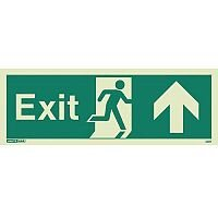 Photoluminescent Exit Sign Exit Arrow Up HxW 150X400mm