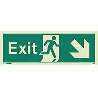 Photoluminescent Exit Sign Exit Arrow Down Right HxW 150X400mm