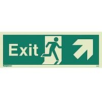 Photoluminescent Exit Sign Exit Arrow Up Right HxW 200X450mm