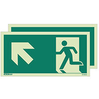 Photoluminescent Double Sided Safety Way Guidance Sign Arrow Up Left HxW 200X400mm