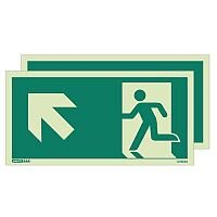Photoluminescent Double Sided Safety Way Guidance Sign Arrow Up Left HxW 250X500mm