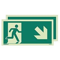 Photoluminescent Double Sided Safety Way Guidance Sign Arrow Down Right HxW 150X300mm