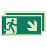 Photoluminescent Double Sided Safety Way Guidance Sign Arrow Down Right HxW 250X500mm